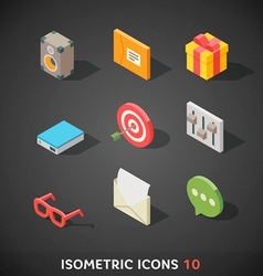 Flat Isometric Icons Set 10 vector image