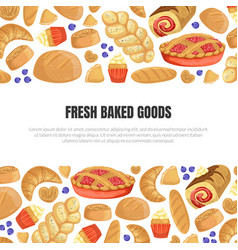 Fresh baked goods banner template with baking vector