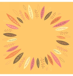 Funny autumn leaves forming a wreath vector