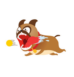 funny cartoon dog running after tennis ball cute vector image