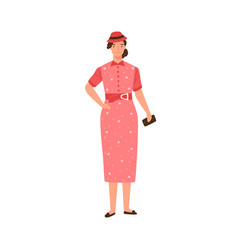 glamour woman in colorful dress and hat 30s vector image