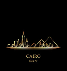 Gold silhouette cairo on black background vector