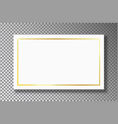 Golden frame on white plate on transparent vector
