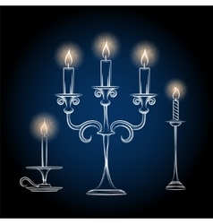 Gothic antique chandeliers sketch with light vector