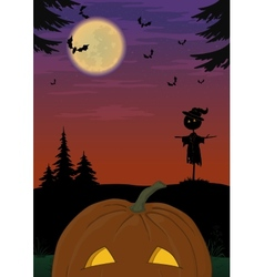 Halloween landscape with pumpkin vector image vector image