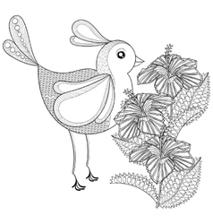 Hand drawn zentangle tribal Exotic Bird and vector image
