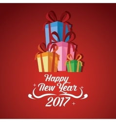 Happy new year 2017 greeting card gift boxes vector