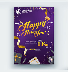 Happy new year 60 sale flyer poster template vector