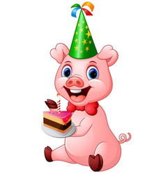 Happy pig cartoon holding birthday cake vector