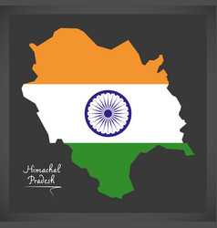 Himachal pradesh map with indian national flag vector