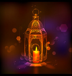 Illuminated lamp on Eid Mubarak Happy Eid vector