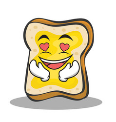 in love bread character cartoon vector image