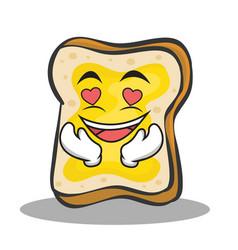 In love bread character cartoon vector