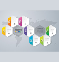 Infographics design with 7 options vector