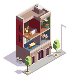 Inside dwelling house composition vector