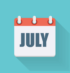 July Dates Flat Icon with Long Shadow vector image