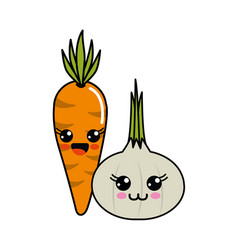 Kawaii happy carrot and garlic icon vector