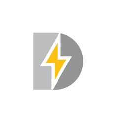 letter d capital thunder shape logo vector image