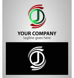 Letter J Company logo icon template set vector image