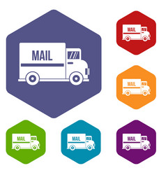 Mail truck icons set hexagon vector