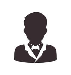 Man head and torso silhouette icon Avatar male vector