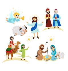 merry christmas holiday set of flying angel and vector image