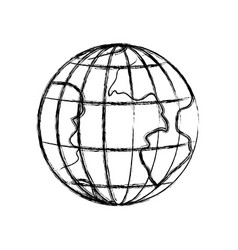 Monochrome blurred silhouette of earth globe with vector