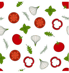 pattern with arugula and vegetables vector image