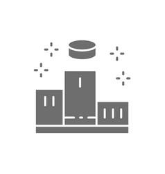 Pedestal with winners podium scene gray icon vector