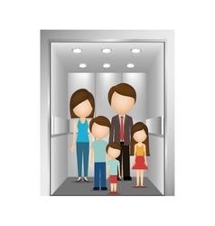 People in elevator design vector