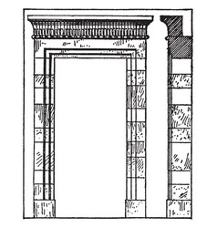 Persian architecture are doorway at persepolis vector