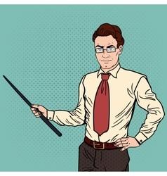 Pop Art Businessman with Pointer Stick vector