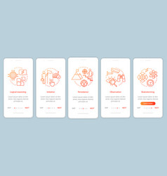 Professional qualities onboarding mobile app page vector