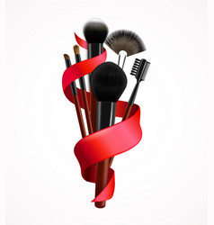 realistic make up brushes composition vector image