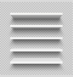 Realistic white wall shelf collection on checkered vector