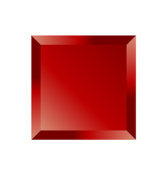 Red beveled square button vector