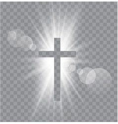 Religioush three crosses with sun rays vector