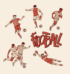 Retro football player and goalkeeper in sports vector