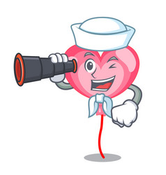 sailor with binocular ballon heart mascot cartoon vector image