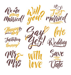save the date hand drawn letters lettering set vector image