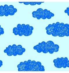 seamless hand drawn doodle cloud pattern vector image