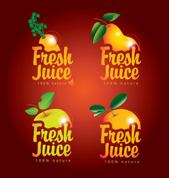 Set fresh juices with pictures fruit vector