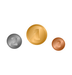 set gold silver and bronze award medals vector image