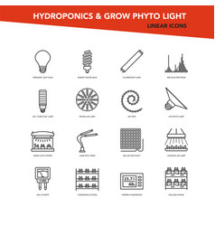 Set line icons - hydroponics and grow vector