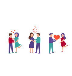 set of a loving couple man and woman vector image