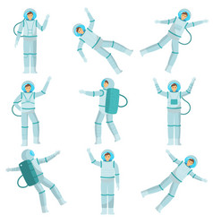 set of astronauts of men and women dancing in zero vector image