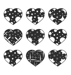 set of black isolated hearts on a white vector image
