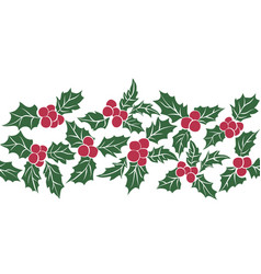set of christmas holly leavesseamless pattern of vector image
