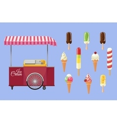 Set of ice-cream icons and ice-cream shopping cart vector
