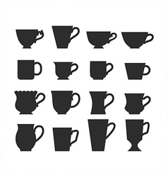 Set of mugs black silhouettes of dishes symbols vector image